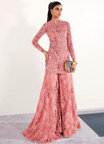 Wedding Wear Dark Pink Embroidery Work Net Pakistani Suit