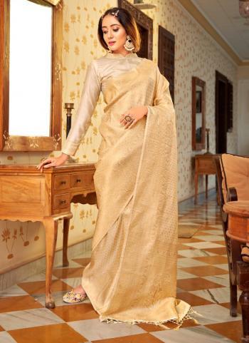 Party Wear Beige Weaving Work Silk Saree
