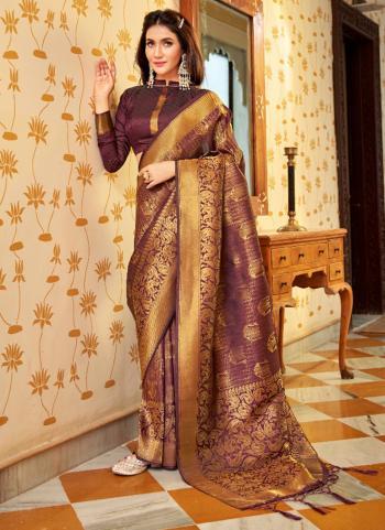 Party Wear Brown Weaving Work Silk Saree