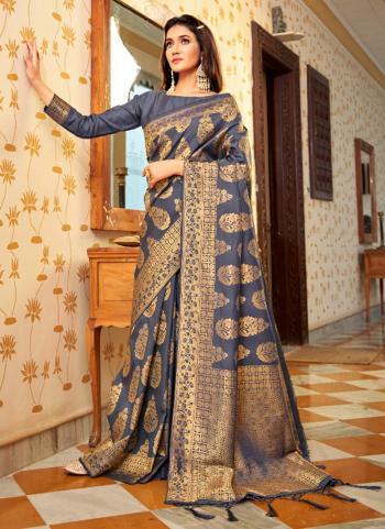 Party Wear Grey Weaving Work Silk Saree