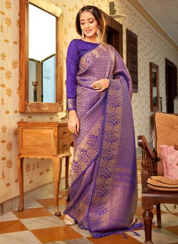 Party Wear Purple Weaving Work Silk Saree