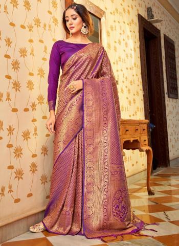 Party Wear Wine Weaving Work Silk Saree