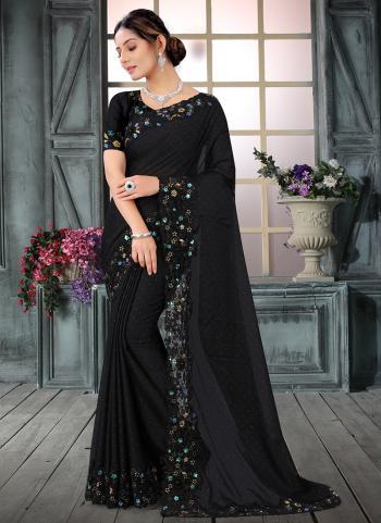 Wedding Wear Black Resham Work Rangoli Silk Saree