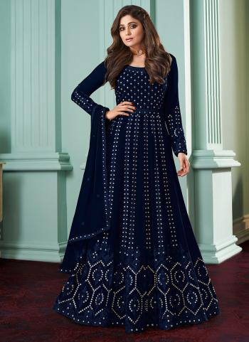 Traditional Wear Blue Chain Stitch Work Faux Georgette Anarkali Suit