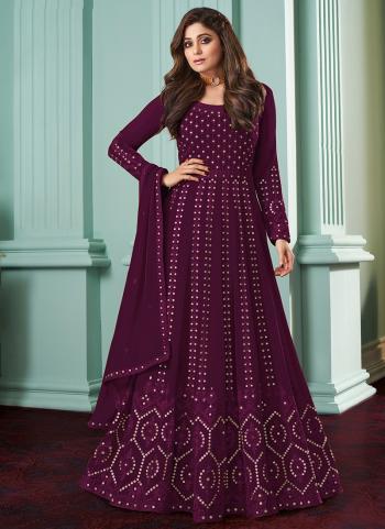 Traditional Wear Magenta Chain Stitch Work Faux Georgette Anarkali Suit