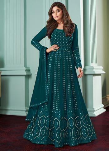 Traditional Wear Rama Chain Stitch Work Faux Georgette Anarkali Suit