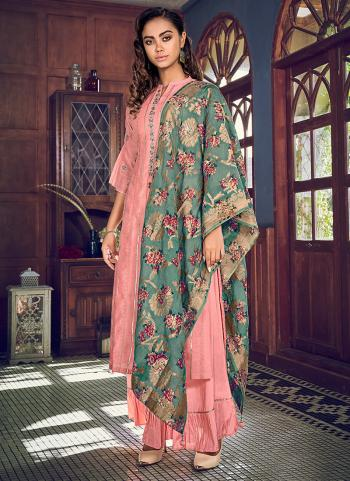 Party Wear Pink Embroidery Work Tussar Silk Sharara Suit