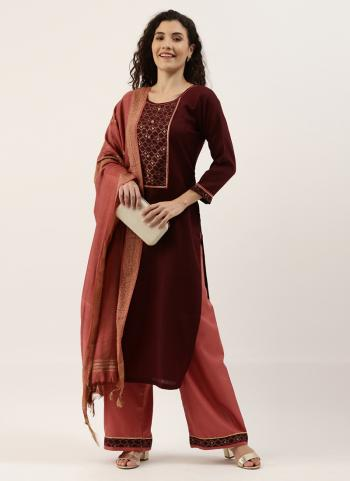 Casual Wear Maroon Embroidery Work Ruby Palazzo Suit