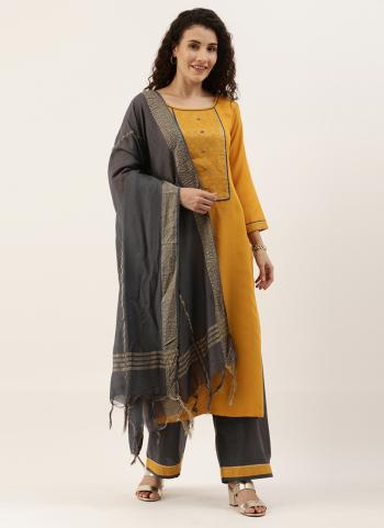 Casual Wear Yellow Embroidery Work Ruby Palazzo Suit