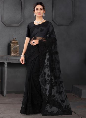 Party Wear Black Stone Work Net Saree