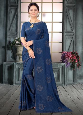 Wedding Wear Rama Swarovski Work Pure Crepe Saree