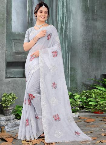 Reception Wear Grey Zari Embroidery Work Chinnon Silk Saree