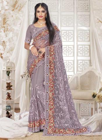 Wedding Wear Dusty Lavander Zarkan Work Net Saree