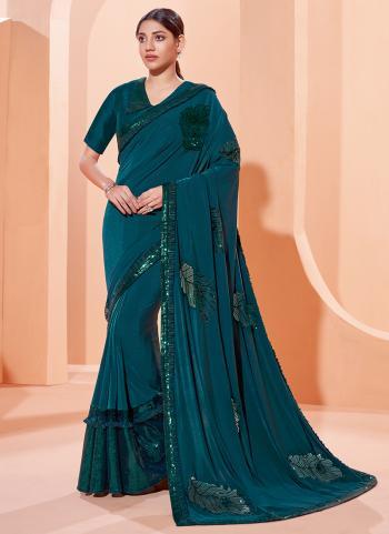 Party Wear Teal Blue Thread Work Lycra Saree