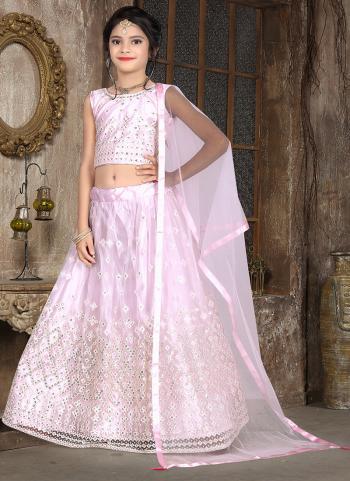 Traditional Wear Pink Thread Work Net Kids Lehenga Choli
