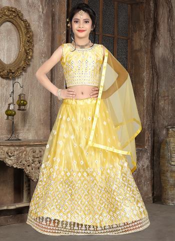 Traditional Wear Yellow Thread Work Net Kids Lehenga Choli