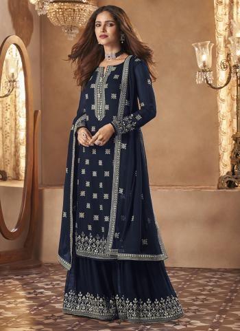 Party Wear Navy Blue Embroidery Work Georgette Sharara Suit