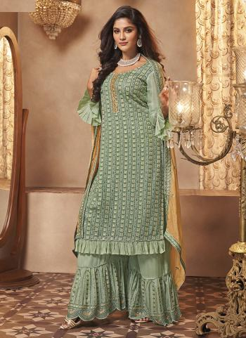 Party Wear Pista Green Embroidery Work Georgette Sharara Suit