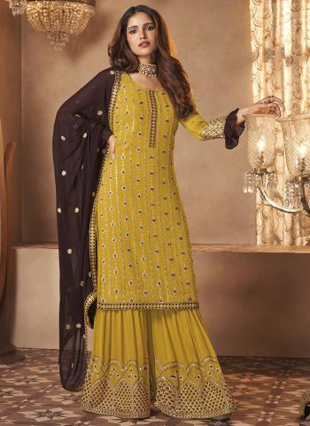 Party Wear Yellow Embroidery Work Georgette Sharara Suit