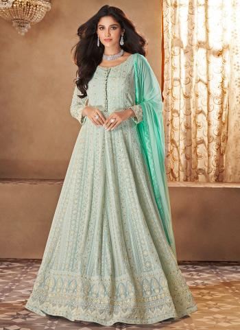 Wedding Wear Turquoise Blue Embroidery Work Georgette Anarkali Suit