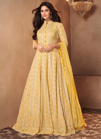 Wedding Wear Yellow Embroidery Work Georgette Anarkali Suit