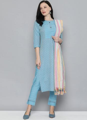 Regular Wear Sky Blue  Printed Work Pure Cotton Straight Suit