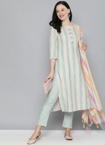 Regular Wear Turquoise Blue Printed Work Pure Cotton Straight Suit