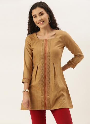Casual Wear Beige Embroidery Work Cotton Blend Top