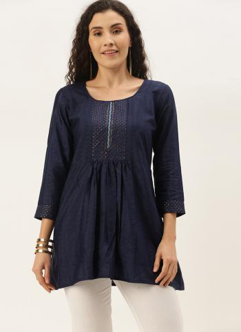 Casual Wear Navy Blue Embroidery Work Cotton Blend Top
