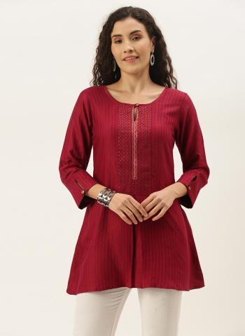 Casual Wear Rani Embroidery Work Cotton Blend Top