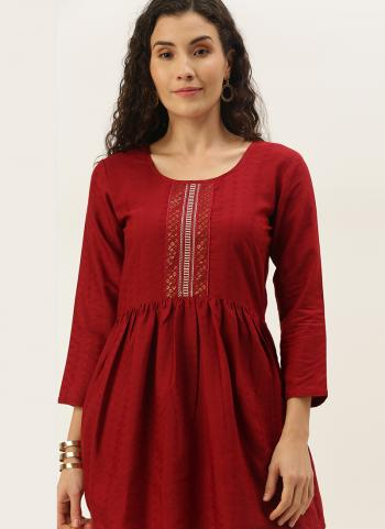 Casual Wear Red Embroidery Work Cotton Blend Top