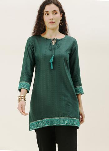 Casual Wear Teal Embroidery Work Cotton Blend Top