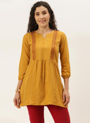 Casual Wear Yellow Embroidery Work Cotton Blend Top
