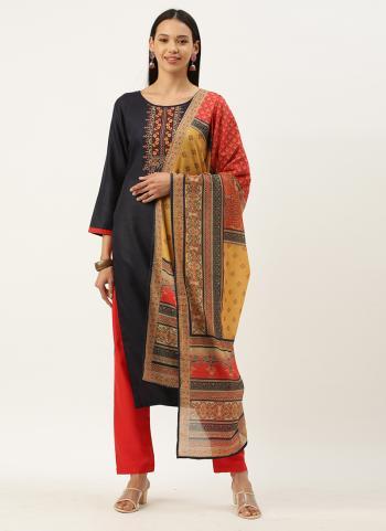 Regular Wear Black Embroidery Work Cotton Blend Straight Suit