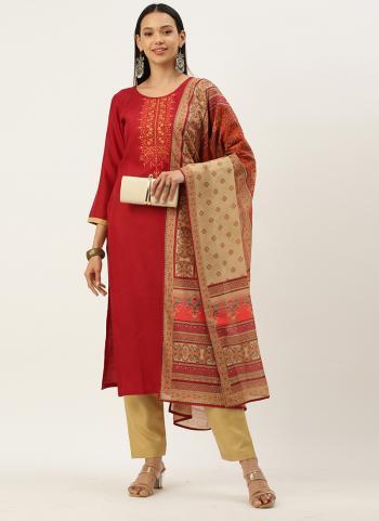 Regular Wear Rani Embroidery Work Cotton Blend Straight Suit