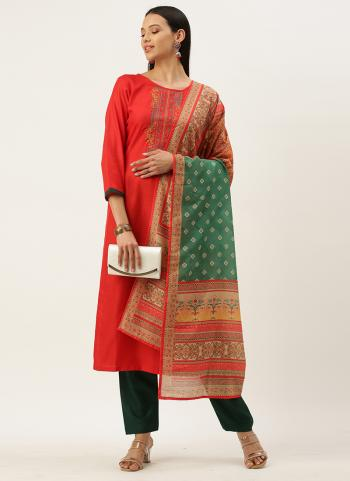 Regular Wear Red Embroidery Work Cotton Blend Straight Suit