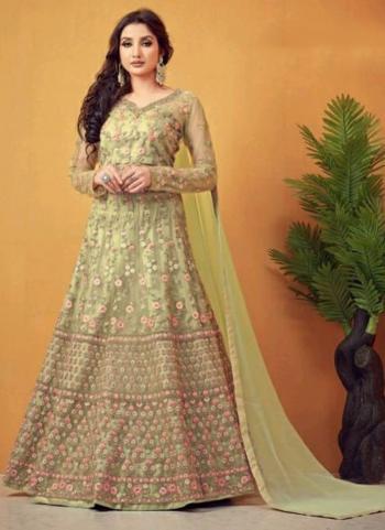 Wedding Wear Green Embroidery Work Net Anarkali Suit