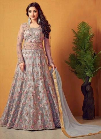 Wedding Wear Grey Embroidery Work Net Anarkali Suit