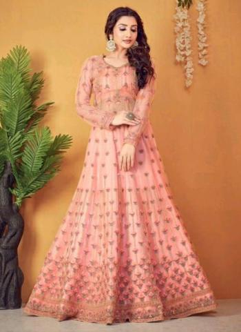 Wedding Wear Peach Embroidery Work Net Anarkali Suit