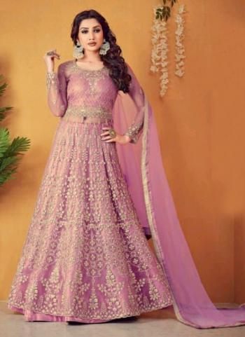 Wedding Wear Pink Embroidery Work Net Anarkali Suit