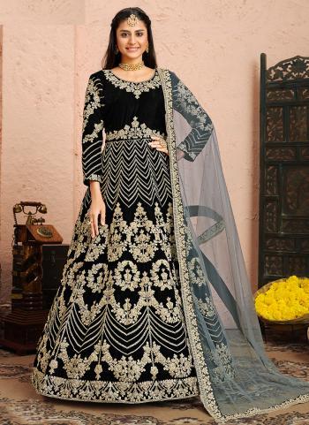 Wedding Wear Black Embroidery Work Velvet Anarkali Suit