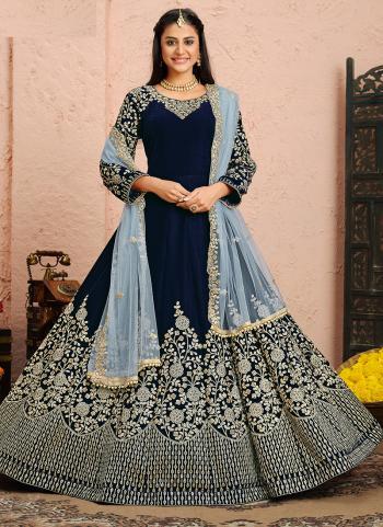 Wedding Wear Navy Blue Embroidery Work Velvet Anarkali Suit