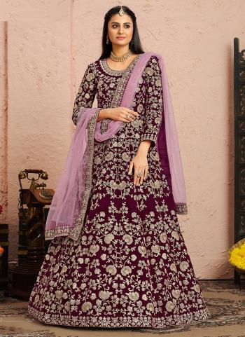Wedding Wear Purple Embroidery Work Velvet Anarkali Suit