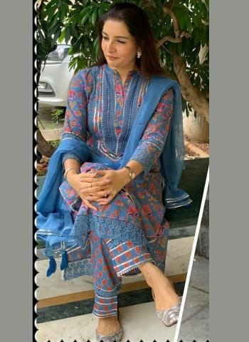 Party Wear Blue Printed Work Cotton Muslin Readymade Salwar Suit