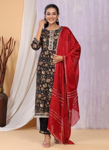 Festival Wear Black Printed Work Cotton Muslin Readymade Salwar Suit