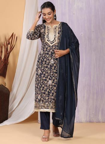 Festival Wear Navy Blue Printed Work Cotton Muslin Readymade Salwar Suit