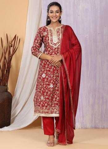 Festival Wear Red Printed Work Cotton Muslin Readymade Salwar Suit