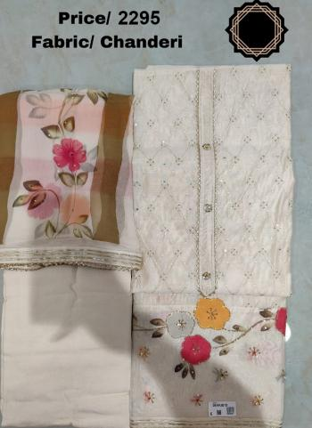 Party Wear New White Embroidery Work Chanderi Silk Dress Material