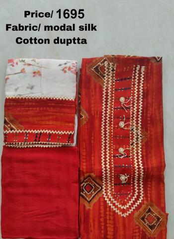 Wedding Wear New Red Embroidery Work Modal Silk Dress Material