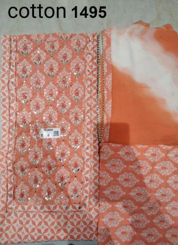 Wedding Wear Peach Embroidery Work Cotton Dress Material
